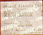'Before Sunrise' - Ticket Stub, 01.28.95