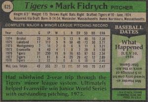 Mark Fidrych - Card Back