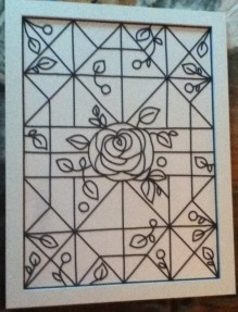 Faux stained glass rose design