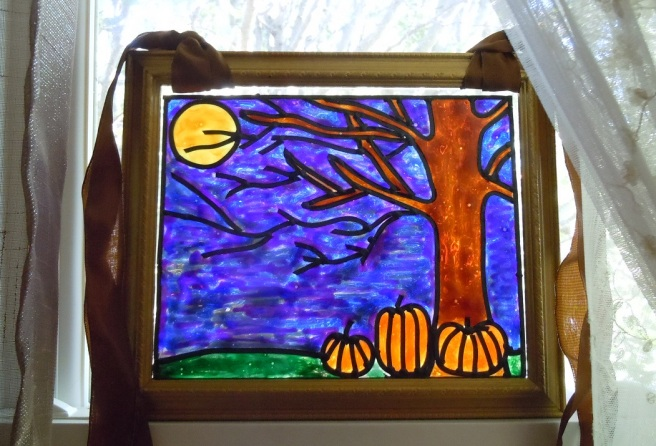 Faux Stained Glass Halloween Tree