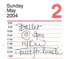 I have no recollection whatsoever of having taken a ballet class w/my BFF that day in that year. Lunch, I'm sure did happen.